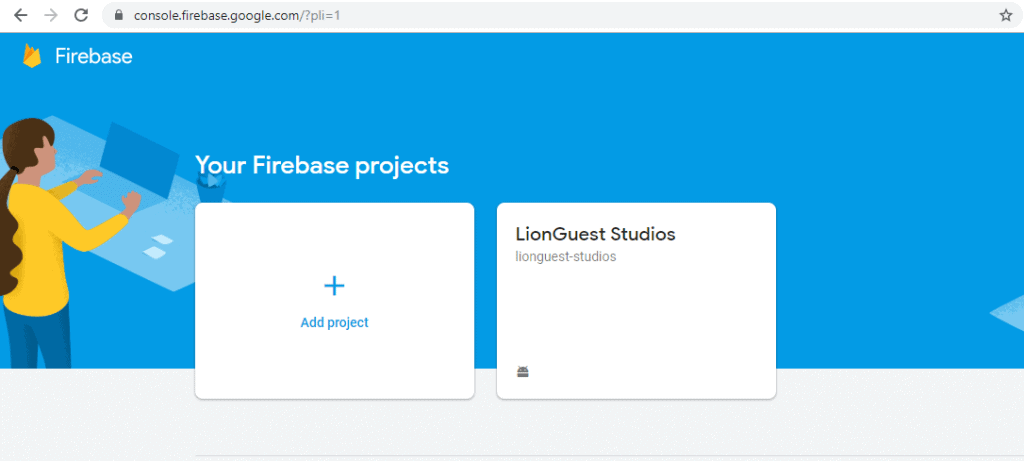 Creating a project on Firebase console