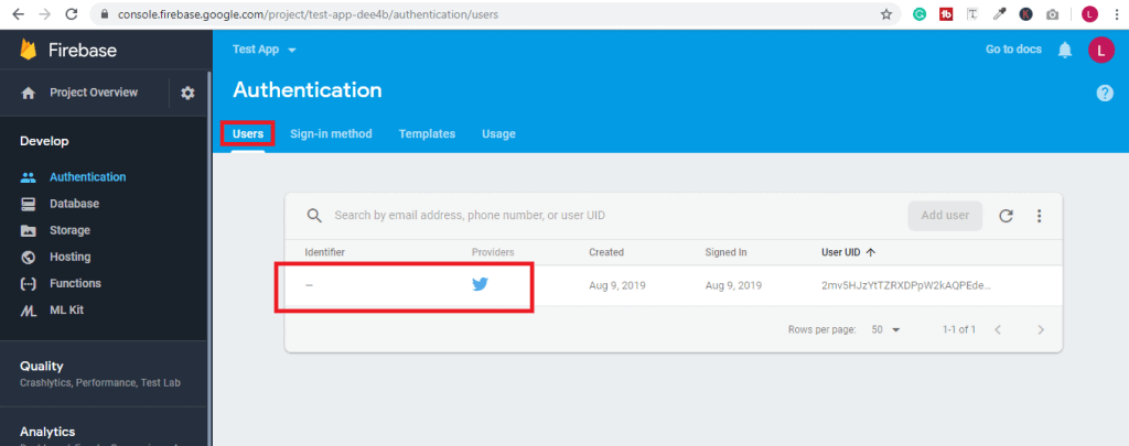 No email address of the user in Firebase Authentication