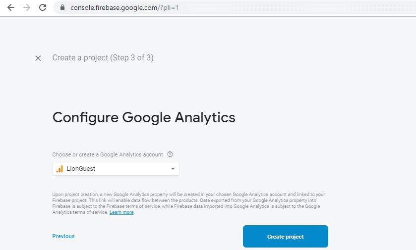 Choosing a Google Analytics account