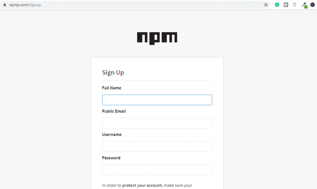creating an npm account