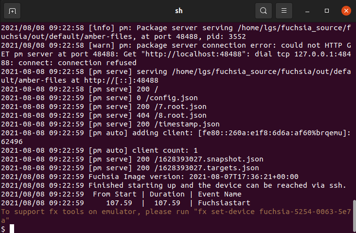 Prompt to execute commands in Fuchsia OS